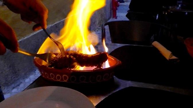Flaming Portuguese Sausage