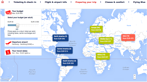 airfrance destination search on world map