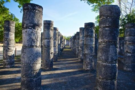 Mexico Chichen Itza Columns in the Temple of a Thousand Warriors