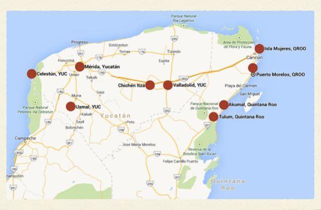 My route in Mexico, Yucatan Peninsula