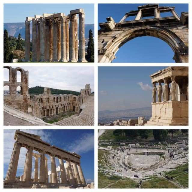 archeological sites in athens acropolis parthenon erechtheion theatre of dionysus odeon of heredos atticus tmeple of olympian zeus arch of hadrian