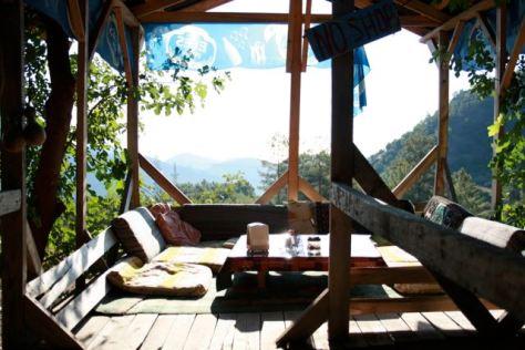Summer vacation in Olympos - Sitting under Pergola - Mediterranean Sea - Antalya - Turkey
