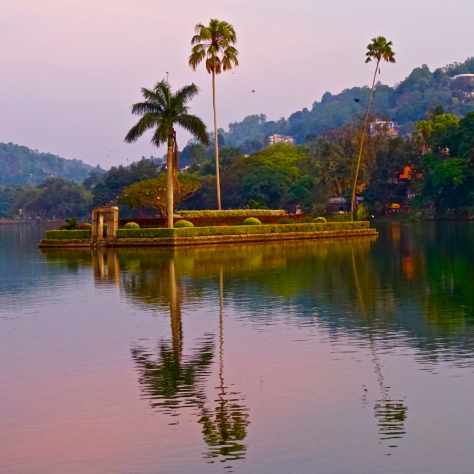 2 days in Kandy Central Province of Sri Lanka - Small island in the middle of Kandy Lake during sunset